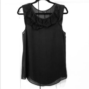 Theory Silk Chiffon Lace Trim Sleeveless Top